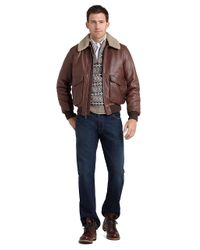 Brooks Brothers Brown Leather Flight Bomber for men