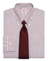 Brooks Brothers Red Supima Cotton Noniron Regular Fit Bold Stripe Dress Shirt for men