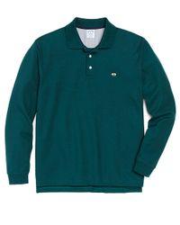 Brooks Brothers Green Golden Fleece Slim Fit Longsleeve Performance Polo for men