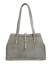 Brooks Brothers Gray Kid Suede Nail Head Tote Bag