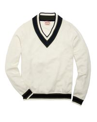 Brooks Brothers White Cotton and Wool Cricket Sweater for men