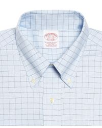 Brooks Brothers Blue Supima Cotton Noniron Traditional Fit Brookscool Houndstooth Windowpane Oxford Dress Shirt for men