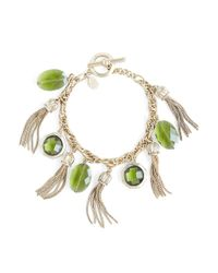 Brooks Brothers | Metallic Stone and Tassel Charm Bracelet | Lyst