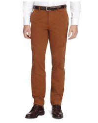 Brooks Brothers Brown Milano Fit Cotton Twill Pants for men