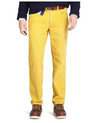 Brooks Brothers Yellow Slim Fit Fivepocket Corduroy Pants for men