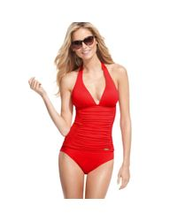 DKNY Red Halter Ruched Tankini Top