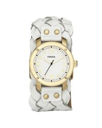 Fossil White Braided Leather Cuff Bracelet Watch