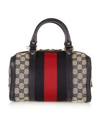 Gucci | Gray Vintage Web Gg Canvas Mini Bowling Bag | Lyst