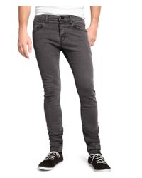 H&M Gray Skinny Low Jeans for men