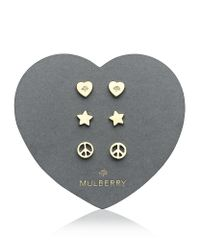 Mulberry Metallic Love and Peace Earrings