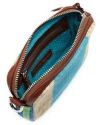 Nanette Lepore Blue Striped Raffia Crossbody Bag