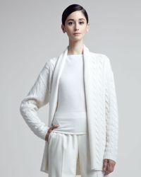 Ralph Lauren Black Label White Cableknit Cashmere Cardigan