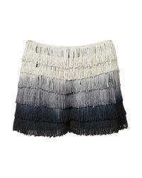 TOPSHOP Black Coord Ombre Fringe Shorts