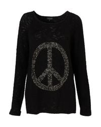 TOPSHOP Black Knitted Peace Motif Jumper