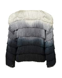 TOPSHOP Gray Coord Ombre Fringe Jacket