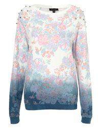 Topshop   Multicolor Floral Dip Dye Sweat   Lyst