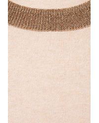 TOPSHOP Pink Knitted Lurex Trim Top