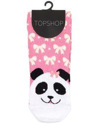 TOPSHOP Pink Panda Toe Ankle Socks