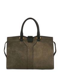 Saint Laurent Gray Medium Cabas Chyc Metallic Leather Bag