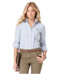 Brooks Brothers Blue Noniron Tailored Fit Bengal Stripe Dress Shirt