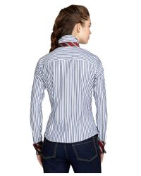 Brooks Brothers Blue Fitted French Cuff Stripe Dress Shirt
