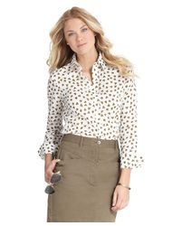 Brooks Brothers White Clover Print Blouse