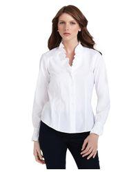 Brooks Brothers White Noniron Ruffle Collar Blouse