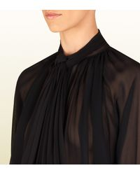 Gucci Black Silk Georgette Shirt with Attached Scarf