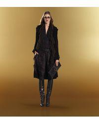 Gucci Soft Stirrup Black Brocade Leather Clutch