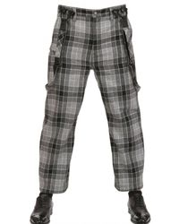 Miharayasuhiro Gray Checked Wool Suspenders Cropped Trousers for men