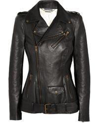 Alexander McQueen   Black Leather Biker Jacket   Lyst