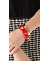 Tory Burch | Red Resin Logo Stud Bangle | Lyst