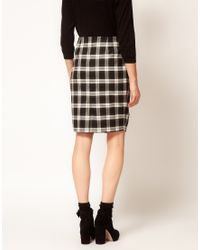 ASOS Collection | Black Asos Check Twisted Pencil Skirt | Lyst