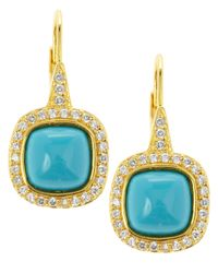 CZ by Kenneth Jay Lane | Blue Pave Turquoise Drop Earrings | Lyst