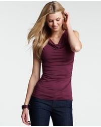 Ann Taylor | Red Ruched Cowl Neck Top | Lyst