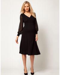 ASOS Black Midi Dress with Chiffon Sleeve