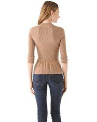 Tory Burch | Brown Madeline Peplum Sweater | Lyst