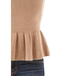 Tory Burch - Brown Madeline Peplum Sweater - Lyst