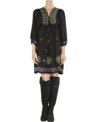Antik Batik | Black Sara Embroidered Woven-jersey Dress | Lyst
