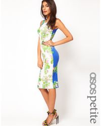 ASOS - Multicolor Midi Bodycon Dress in Floral Print - Lyst