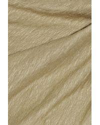 Donna Karan New York | Beige Draped Washed Stretch Linen Dress | Lyst