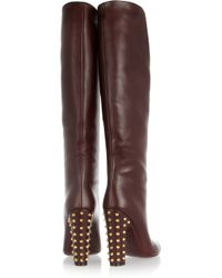 Gucci - Brown Studded Leather Knee Boots - Lyst