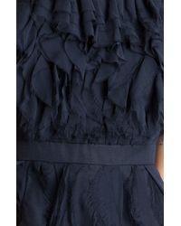 Jill Stuart | Blue Raw Edge Silk Chiffon Dress | Lyst