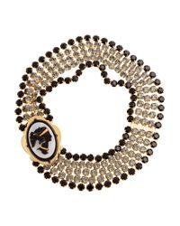 Miu Miu | Gold Crystal Cameo Necklace | Lyst