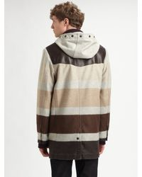 Rag & Bone Brown Striped Duffle Coat for men
