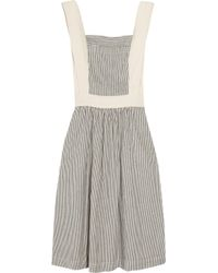 Twenty8Twelve Blue Bat Striped Cotton and Linen blend Dress