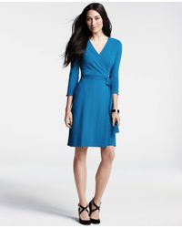 7504481a12a Lyst - Ann Taylor Three-Quarter Sleeve Jersey Wrap Dress in Blue