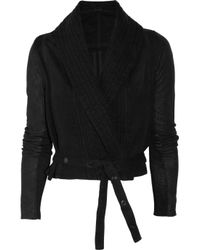 DRKSHDW by Rick Owens | Black Leather and Cotton Cropped Jacket | Lyst