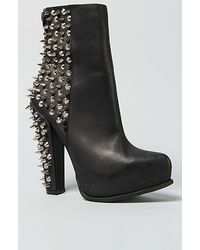 Jeffrey Campbell | Avalos Black Leather Spiked Platform Bootie | Lyst