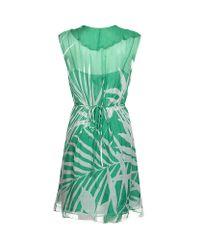 MILLY Green Dress Madeira Ruffle Wrap Dress